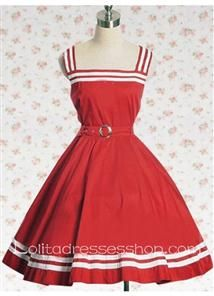 Sailor Style Cotton Square Sleeveless School Lolita Dress With White Ribbon Trim