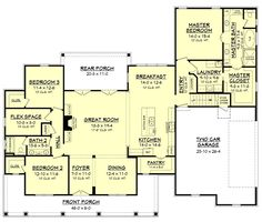 I like the right half of the plan! There's no shortage of curb appeal for this beautiful 4 bedroom modern farmhouse plan. Visit our site for the newest Farmhouse House Plans. The Plan, How To Plan, Plan Plan, Modern Farmhouse Plans, Farmhouse Design, Craftsman Farmhouse, Country Farmhouse, Farmhouse Stairs, Craftsman Style Houses