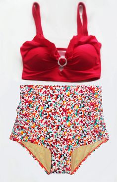 5259a104f37a Red Floral Vintage Retro High Waisted Swimsuit Red by venderstore Cute  Bikinis, Cute Swimsuits,