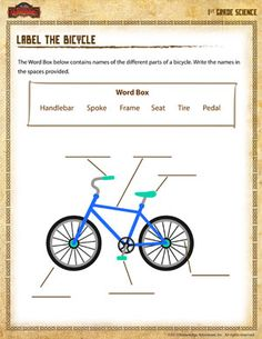 1st grade science worksheets | Label the Bicycle - Printable 1st Grade Science Worksheet
