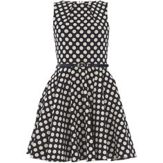 **Closet Navy Polka Dot Belted Dress ($64) ❤ liked on Polyvore featuring dresses, blue, belt dress, flared dresses, blue dress, dot dress and blue polka dot dress