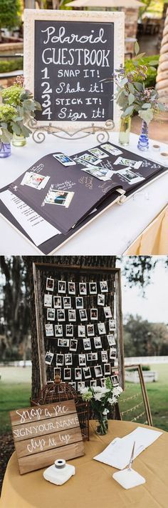 20 Must-See Non-Traditional Wedding Guest Book Alternatives – Announce It! 20 Must-See Non-Traditional Wedding Guest Book Alternatives polaroid wedding photo guest book ideas Perfect Wedding, Fall Wedding, Rustic Wedding, Dream Wedding, Trendy Wedding, Wedding Book, Wedding Photo Guest Book, Wedding Stuff, Decor Wedding