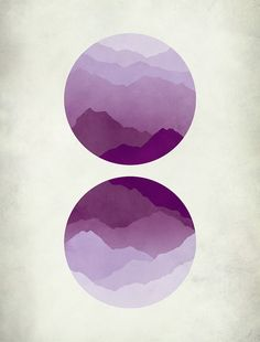 Mid century modern minimal art print of purple mountains inspired by Japanese woodblock prints. Lavender, purples and violets. Get this print on