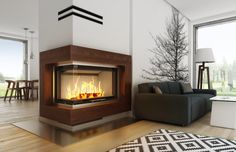 Eleganckie #kominki nowoczesne - aranżacja na bazie wkładu Volcano 2BLTh - #Hajduk #fireplaces #fireplace #interior #design #wood #scandinavian #concept #architecture #kominek #salon #living #room
