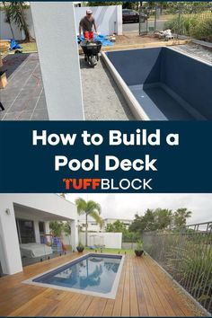 This Pool deck was made possible by using Tuffblocks. TuffBlocks have an ultra low profile of only 2 inchs from the ground to the base where the joist or post sits. If you want to know more about our product please click the video. Deck Foundation, Easy Deck, Raised Deck, Make Build, Decking Ideas, Building A Pool, Walkway, This Is Us, Shed