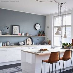 Kitchen Wall Decor Ideas is extremely important for your home. Whether you pick the Decorating Kitchen Walls Ideas or Painting Colors For Kitchen Walls, you will create the best Kitchen Soffit Decorating Ideas for your own life. Grey Kitchen Walls, Kitchen Soffit, Kitchen Wall Colors, Green Kitchen, Kitchen Cabinets, Kitchens Without Upper Cabinets, Kitchen Design, Kitchen Decor, Decorating Kitchen