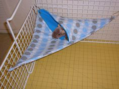 "Corner Pocket Hammock  ""Blue Polka Dot Print with Aqua Blue Fleece Lining"" Rat, Ferret, Sugar Glider. $9.99, via Etsy."