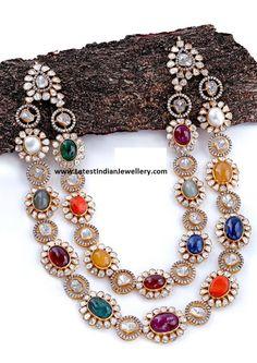 2 Line Navaratna Mala - Latest Indian Jewellery Designs Kundan Jewellery Set, Gold Jewellery Design, Handmade Jewellery, Indian Earrings, Indian Jewelry, Gold Jewelry Simple, Necklace Designs, Jewelry Sets, Oval Shape