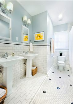 bathroom updated for century - traditional - bathroom - austin - Avenue B Development-walls are Benjamin Moore Iced Cube Silver Best Paint Colors, Interior Paint Colors, Bad Inspiration, Bathroom Inspiration, Bathroom Ideas, Bathroom Colors, Bathroom Remodeling, White Subway Tile Bathroom, Subway Tiles