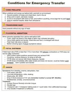 Home Birth Supply List: Birth Cheat Sheet-Emergency