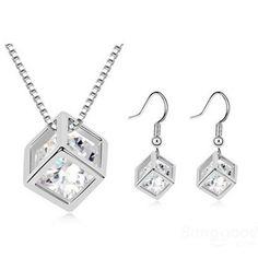 LOVER Valentine's Day Gifts Fashion Jewerly Set Lovely Cubic Imitation Crystal Necklace and Dangle Earrings for Women Girls Jewelry, Womens Jewelry Rings, Bling Jewelry, Jewelry Sets, Women Jewelry, Diamond Decorations, Black Diamond Jewelry, Crystal Necklace, Crystal Rhinestone