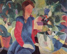 August Macke (German, 1887-1914), Mädchen mit Fischglocke, 1914. Color on canvas, 80.5 x 100 cm.