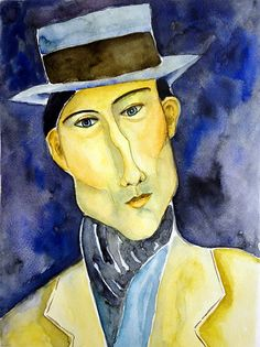 'Portrait of a Man With Hat', by Amedeo Clemente Modigliani (1884~1920), who was an Italian painter and sculptor who worked mainly in France.