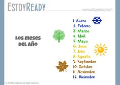 Español - Los meses del año Worksheets, Spanish, Chart, Learning, September, Reading, Studying, Spanish Language, Literacy Centers