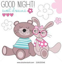 sweet dreams bunny and bear vector illustration - stock vector