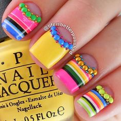 """Feliz Cinco de Mayo! I'm celebrating with homemade guacamole and an adorable mani using @goscratchit wraps, studs and caviar beads from @daily_charme P.S. I used @twinkled_t slant vinyls to create this design and that beautiful yellow is @opi_products """"I Just Can't Cope-Acabana"""" topped with @glistenandglow1 #hkgirltopcoat #prsample"""