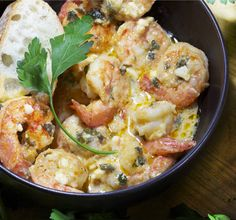 Greek Style Garlicky Shrimp with Feta - Panning The Globe Fish Dishes, Seafood Dishes, Fish And Seafood, Main Dishes, Shrimp Recipes, Fish Recipes, Garlicky Shrimp, Cooking Recipes, Healthy Recipes