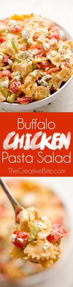 Buffalo Chicken Pasta Salad is a quick and easy recipe perfect for a game day party or a summer picnic. Tender pasta is tossed with a creamy buffalo sauce and fresh vegetables all topped off with crumbled bleu cheese for a side dish bursting with flavor and crunch!