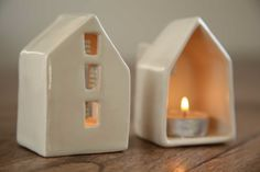 Ceramic candle holder houses by SimoneCeramics |