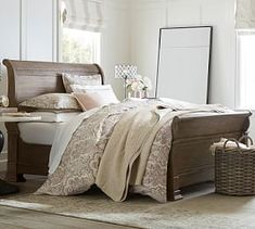 Shop Pottery Barn for expertly crafted wooden bedroom furniture. Browse our Banks Bedroom Collection and find stylish wooden beds, dressers and nightstands in quality finishes. Dentil Moulding, Wooden Bedroom, Mattress Sets, Wood Beds, Extendable Dining Table, Dining Bench, Dining Chairs, Bedroom Furniture, Furniture Ideas