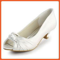 fc18eefb62b ElegantPark EP2045 Women Peep Toe Comfort Heel Knots Satin Wedding Bridal  Shoes Ivory US 11 -