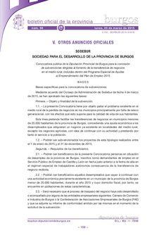 Convocatoria pública de la Diputación Provincial de Burgos para la concesión de subvenciones dirigidas al fomento de la transferencia de negocios en el medio r…