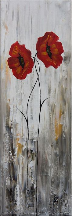 Dancing Poppies #37  Size: 50x30, 5 canvases: 10x30,  Colors: burnt umber, white, gold and red  stretched canvas, 3/4 thick bars, gallery wrapped, no staple  COA will be included signature ( both sides: front and back )  Permanent protective coating: varnish Tracking number is provided ( www.fedex.com )