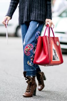 c373050cffed Pair patched denim with whimsical accessories for a fun combination. Cool  Street Fashion, Street