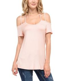 Take a look at this Magic Fit Blush Scoop Neck Cold-Shoulder Tee today! That Look, Take That, Easter Outfit, Business Casual, Wardrobe Staples, Cold Shoulder, Scoop Neck, Blush, Tees