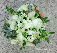 White, Coral and Green Bridal Bouquet