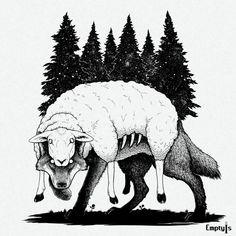Wolf in sheep's clothing, Me, Digital, 2019 : Art Sketches, Animal Drawings, Drawings, Art, Wolf Art Drawing, Dark Art, Wolf Art, Sheep Illustration, Dark Art Drawings