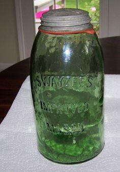 Really Cool Green Crude Swayzee's Improved Mason Canning Fruit Jar HG | eBay