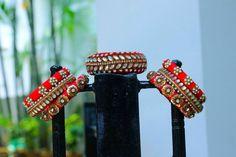 Bangles and bracelets Antique Jewellery Designs, Fancy Jewellery, Thread Jewellery, Fabric Jewelry, Kundan Bangles, Silk Bangles, Bridal Bangles, Silk Thread Bangles Design, Handcrafted Jewelry