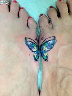 Diamond Mind Tattoo: Autism butterfly on two sisiters