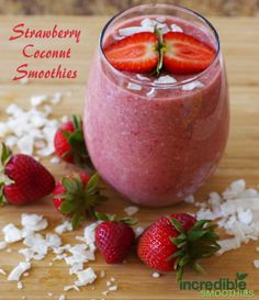 Strawberry Coconut Smoothie recipe -> http://on.fb.me/1h8SjBi