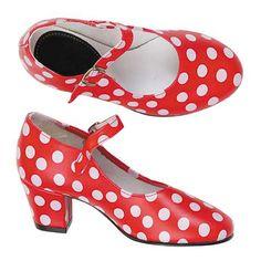DisfracesMimo, zapatos de andaluza rojos con lunares niña talla 25.Para cualquier fiesta sevillana o feria de abril, etc.Compra tu zapatos rojos para grupos, estos complementos son ideales para tus fiestas mas divertidas con amigos.