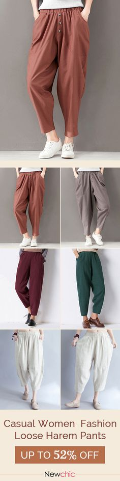2018 casual Loose big pockets elastic waist women harem pants. Multiple color options, casual fashion styles bottoms you need.