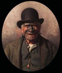One of my favourite paintings of all time.Ta Moko (traditional Maori tattoo) on Mr. Te Aho-o-te-rangi Wharepu, Ngati Mahuta Polynesian People, Polynesian Art, Polynesian Tattoos, Polynesian Culture, Maori People, Maori Designs, New Zealand Art, Nz Art, Maori Art