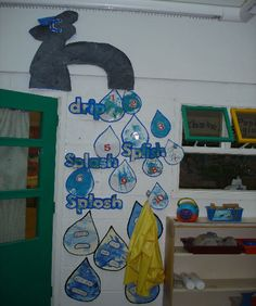 A super Dripping Tap classroom display photo contribution. Great ideas for your classroom! Teaching Displays, School Displays, Classroom Displays, Water Tray, Sand And Water, Nursery Display Boards, Nursery Water, Maths Display, Maths Area