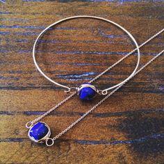 Wire-wrapped Lapis Lazuli Rose Gold Bangle & Necklace - matching jewellery great jewellery gift idea. Matching gift set.