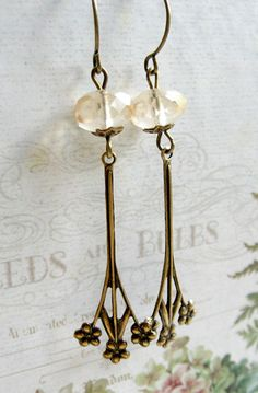 Floral drop earrings, vintage inspired, jonquil faceted glass beads
