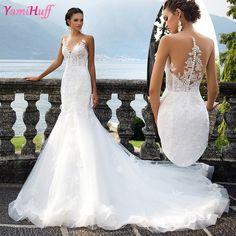 White Arab Mermaid Wedding Dresses Lace Turkey Abiti da sposa 2017 V Neck Vintage Bridal Dresses Tulle Long Tail Y62