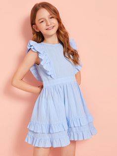 Girls Solid Zip Back Ruffle Trim Dress – gagokid Frocks For Girls, Kids Frocks, Dresses Kids Girl, Cute Dresses, Kids Outfits, Blue Dresses For Kids, Girls Frock Design, Baby Dress Design, Girls Fashion Clothes