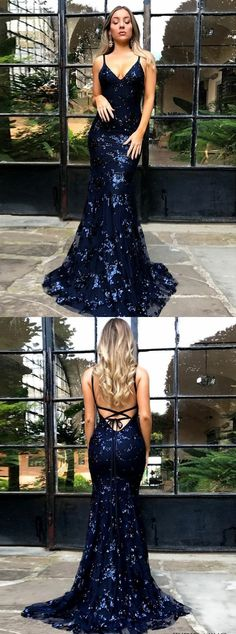 mermaid navy backless prom party dresses, elegant v-neck evening gowns with beaded sparkle appliques.