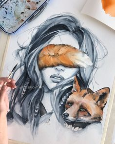 Image about beautiful in drawing inspiration by maria Art And Illustration, Watercolor Illustration, Art Drawings Sketches, Cute Drawings, Pencil Drawings, Arte Inspo, Art Watercolor, Watercolor Pencils, Bright Art