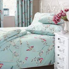 Duck Egg Beautiful Birds Bed Linen Collection