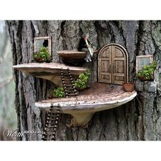Photoshop Submission for 'Tree Mushrooms' Contest Fairy Garden Doors, Fairy Garden Furniture, Mini Fairy Garden, Fairy Doors, Fairy Tree Houses, Fairy Garden Houses, Gnome Garden, Potager Garden, Fairy Crafts