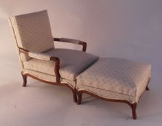 Bergere Chair w/Foot Stool by Alan Barnes - $995.00 : Swan House Miniatures, Artisan Miniatures for Dollhouses and Roomboxes