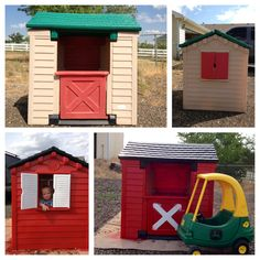Little Tikes house makeover with a John Deere cozy coupe. Now to find a cheap playhouse! Little Tykes Playhouse, Little Tikes House, Barn Playhouse, Indoor Playhouse, Plastic Playhouse, Outdoor Play Areas, Outdoor Fun, Projects For Kids, Diy For Kids