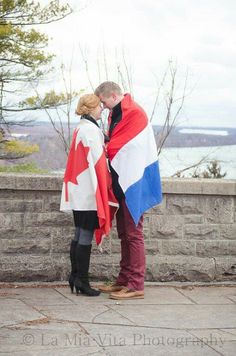 Unique engagement photo for long distance relationship.
